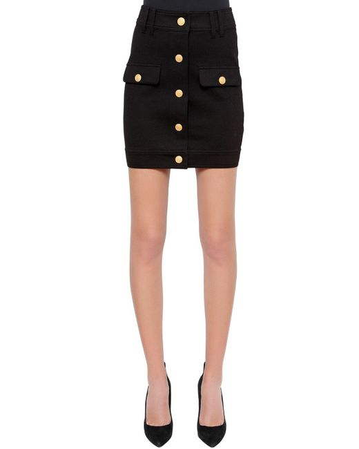 Balmain - Black Stretch Jersey Mini Skirt W/ Buttons - Lyst