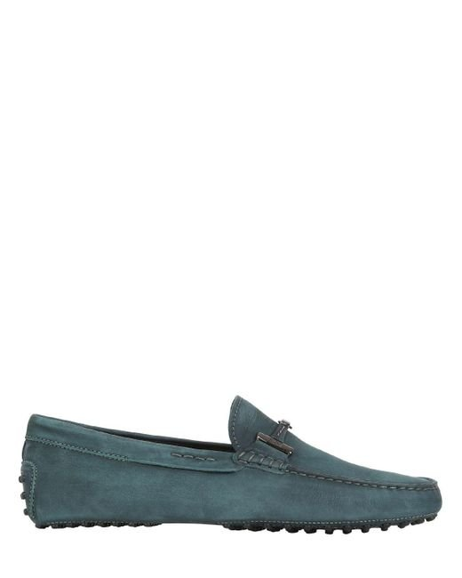 Tod's   Green Gommino Nubuck Driving Shoes for Men   Lyst