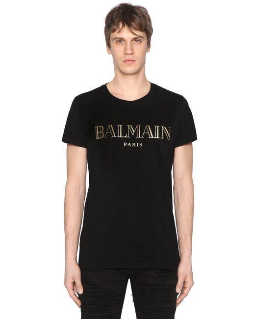 Balmain - Black Printed Cotton Jersey T-shirt for Men - Lyst