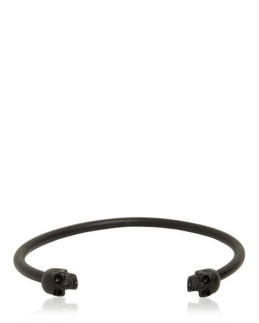 Alexander McQueen - Black Twin Skulls Enameled Bracelet for Men - Lyst