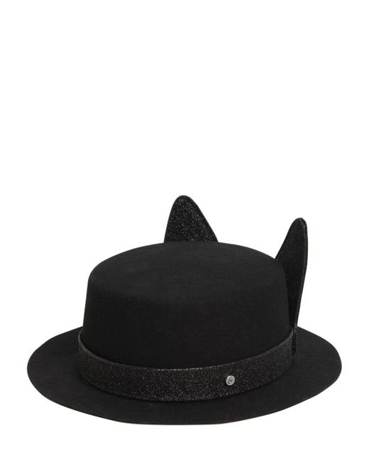Karl Lagerfeld | Black K/small Brim Boater Hat W/ Ears | Lyst