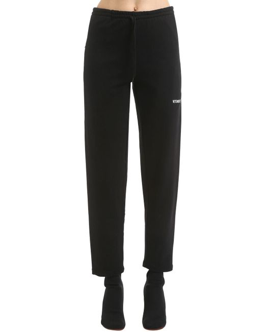 Vetements - Black Logo Detail Cotton Sweatpants - Lyst