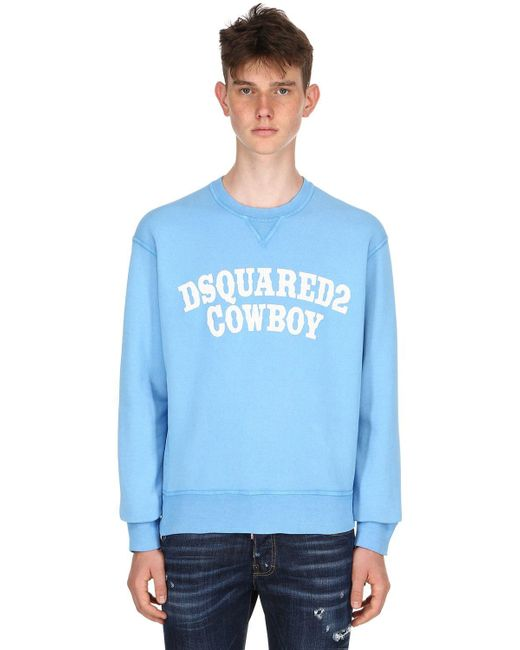 DSquared² - Blue Dan Fit Cowboy Printed Jersey Sweatshirt for Men - Lyst