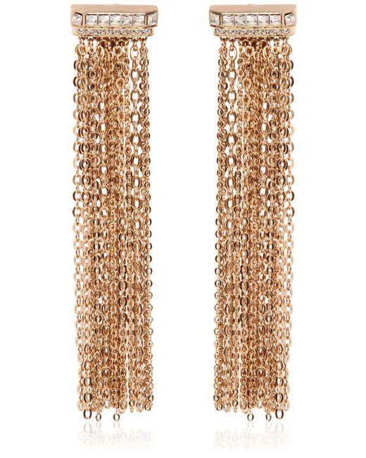 Lanvin - Metallic Chain Fringed Clip-on Earrings - Lyst