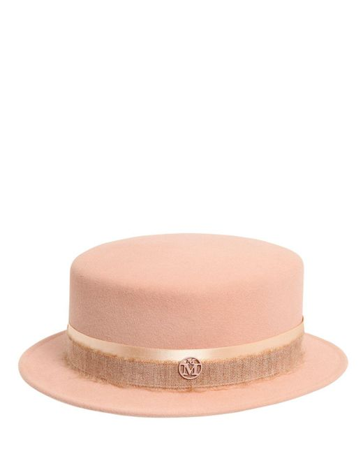 Maison Michel - Natural Auguste Mohair Ribbon Rabbit Felt Hat - Lyst