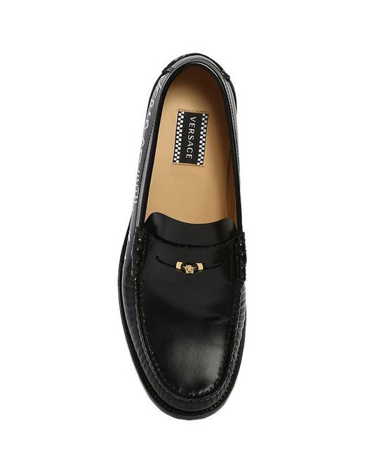 84aad881bf9 ... Versace - Black Leather Loafers W  Graffiti Printed Logo for Men - Lyst  ...