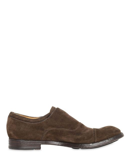 7dbf938cb3c82 ... Officine Creative - Brown Laceless Suede Oxford Shoes for Men - Lyst ...