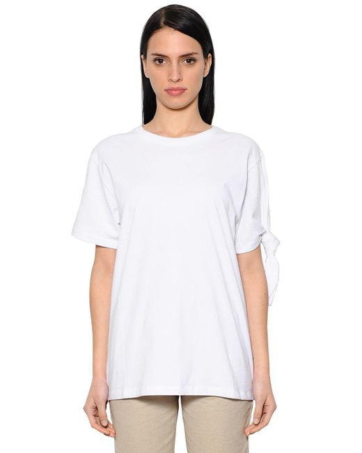 J.W. Anderson - White Knotted Cotton Jersey T-shirt - Lyst