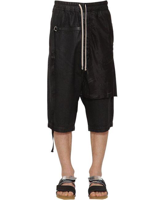 Rick Owens - Black Shorts De Denim De Algodón Con Parches for Men - Lyst