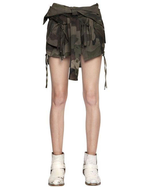 Faith Connexion - Green Destroyed Cotton Canvas Shirt Skirt - Lyst