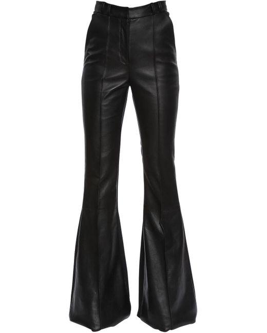 David Koma - Black Flared Leather & Cady Stretch - Lyst