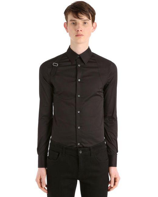 Alexander McQueen - Black Stretch-hemd Aus Baumwollpopeline Mit Gurt for Men - Lyst