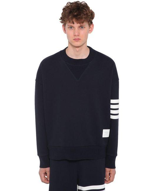 Thom Browne - Blue Oversized Sweatshirt Aus Baumwolle for Men - Lyst
