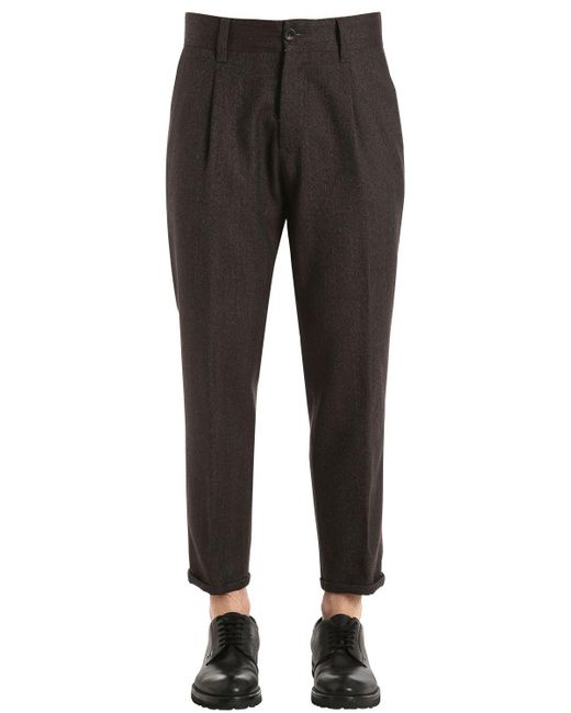 PT01 - Brown 20cm Cool Wool Herringbone Pants for Men - Lyst