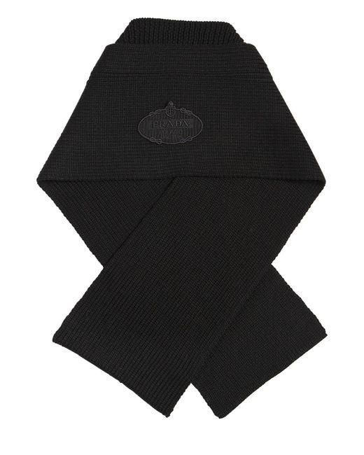 3108d61bc28 ... new zealand prada black wool rib knit scarf w logo patch for men lyst  7321a def03
