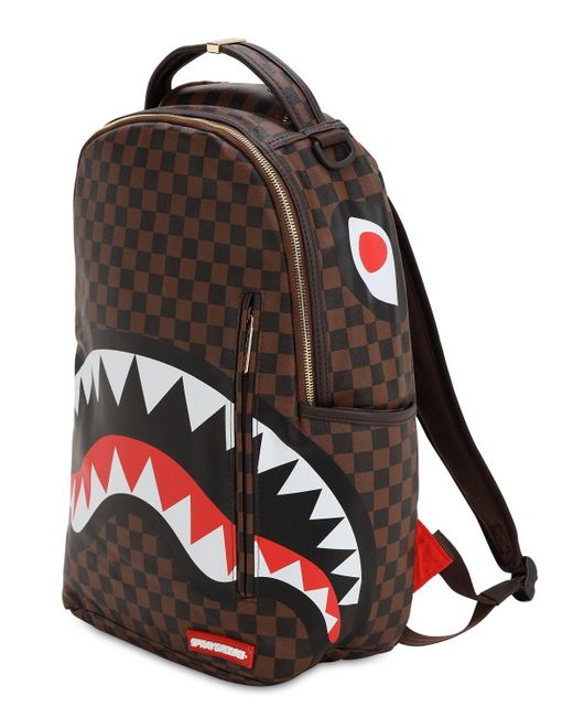 Sprayground Brown Shark In Paris Faux Leather Backpack for men