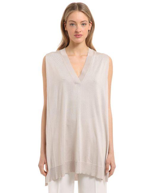 Calvin Klein | Natural Fine Silk Knit Sleeveless Top | Lyst