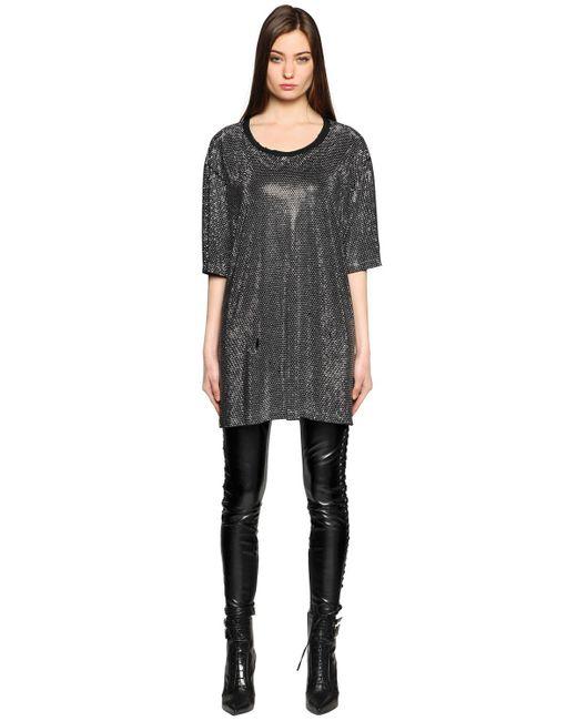 Faith Connexion - Black All Over Studded T-shirt Dress - Lyst