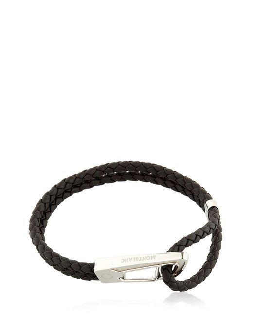 Montblanc | Black Steel & Leather Bracelet for Men | Lyst