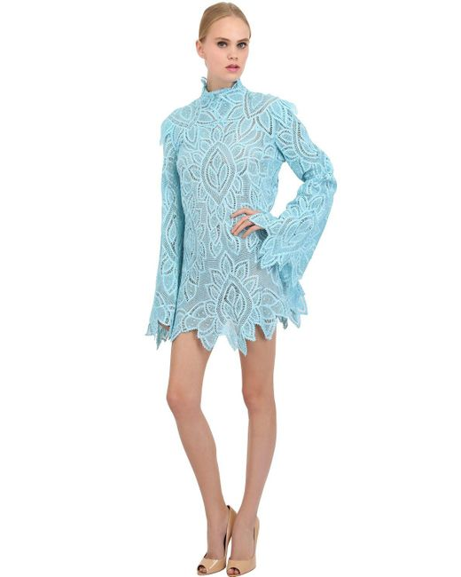 Martha Medeiros | Blue Long-Sleeved Lace Shift Dress | Lyst