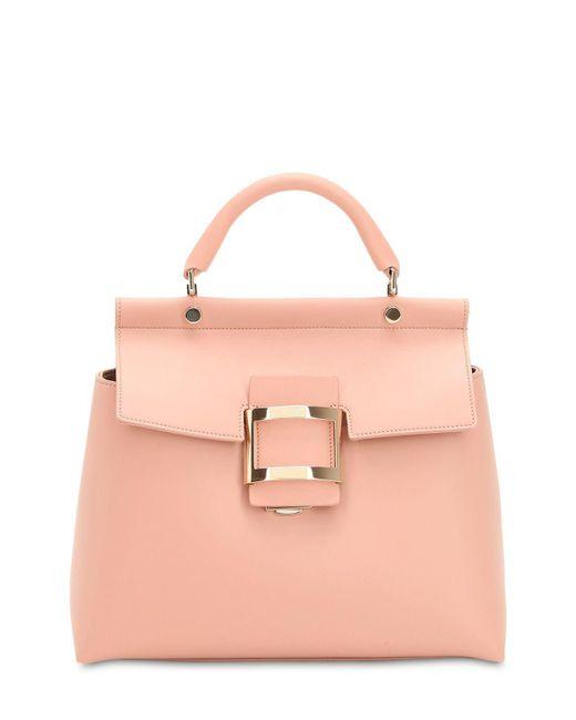 Roger Vivier - Pink Viv' Leather Top Handle Bag - Lyst