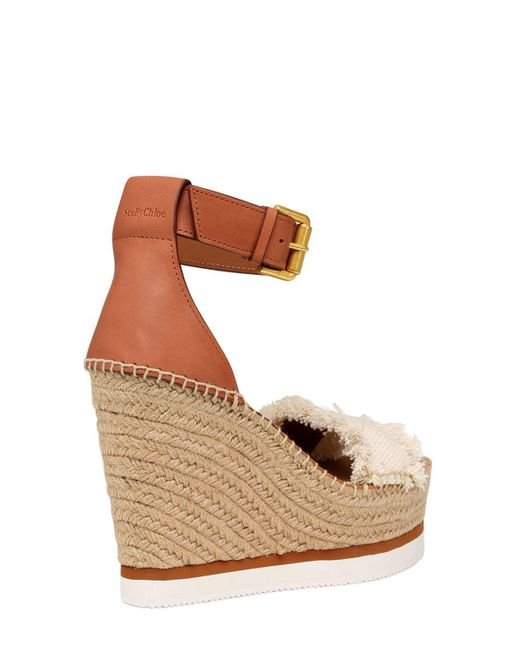 Chloé 120MM CANVAS & LEATHER WEDGE SANDALS
