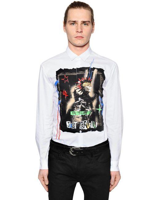 Just Cavalli - White Hemd Aus Baumwollpopeline Mit Druck Und Nieten for Men - Lyst
