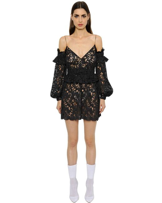 Francesco Scognamiglio - Black Cut Out Shoulder Macramé Lace Dress - Lyst