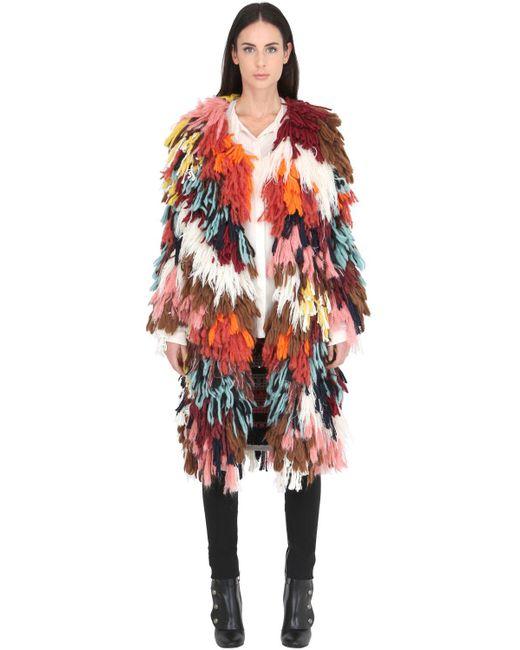 Chloé | Multicolor Chloé Shaggy Knit Coat | Lyst