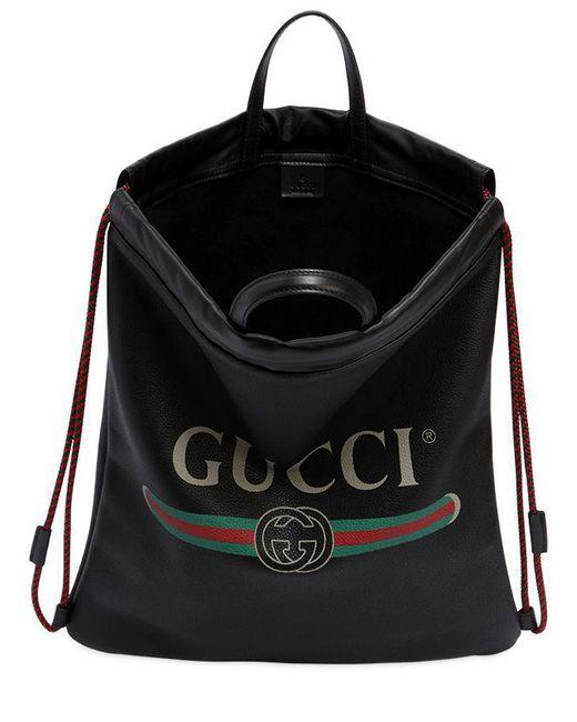 bd58eae1e091 ... Gucci - Black Vintage Logo Printed Drawstring Backpack for Men - Lyst  ...
