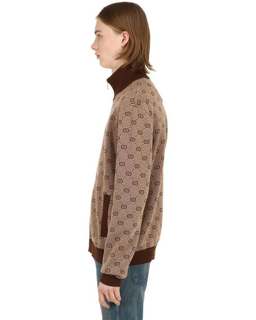 227b5e5cf ... Gucci - Natural Gg Zip-up Wool Jacquard Track Jacket for Men - Lyst ...