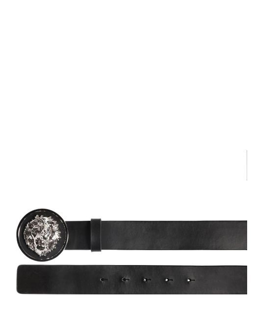 Versus  | Black Lion Head Smooth Leather Belt | Lyst