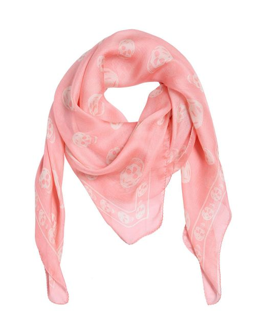 Alexander McQueen   Pink Skull Printed Silk Chiffon Scarf   Lyst