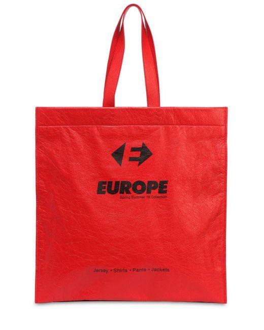 "Balenciaga - Red ""Sac Tote """"supermarket"""" En Cuir Imprimé Europa"" for Men - Lyst"