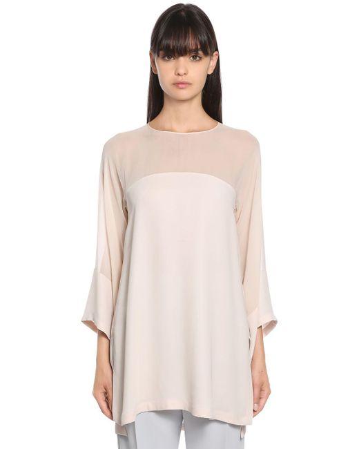 Max Mara - Pink Silk Georgette & Viscose Cady Shirt - Lyst