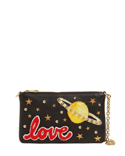Dolce & Gabbana | Black Love Studded Leather Clutch | Lyst