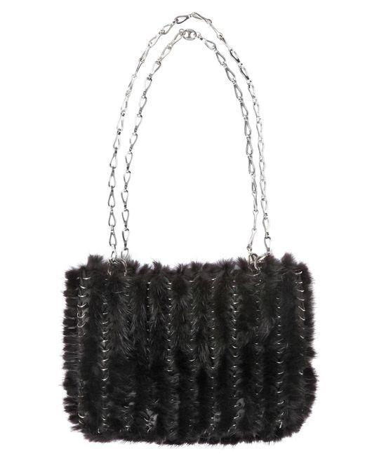 Paco Rabanne | Black Iconic Knitted Mink Shoulder Bag | Lyst