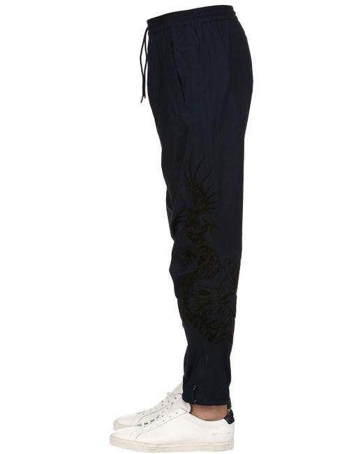 Maharishi - Blue 19cm Embroidered Cotton Biker Pants for Men - Lyst