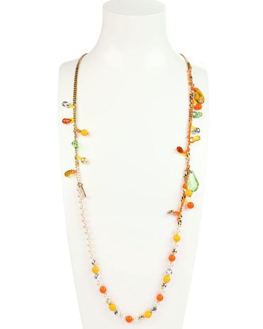 Rada' | Orange Crystals And Pearls Necklace | Lyst