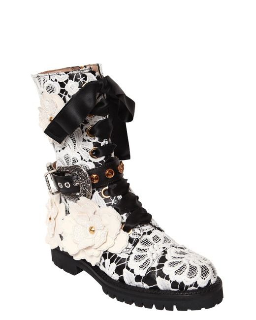 FAUSTO PUGLISI 30MM LACE & LEATHER COMBAT BOOTS McgLpaeVB