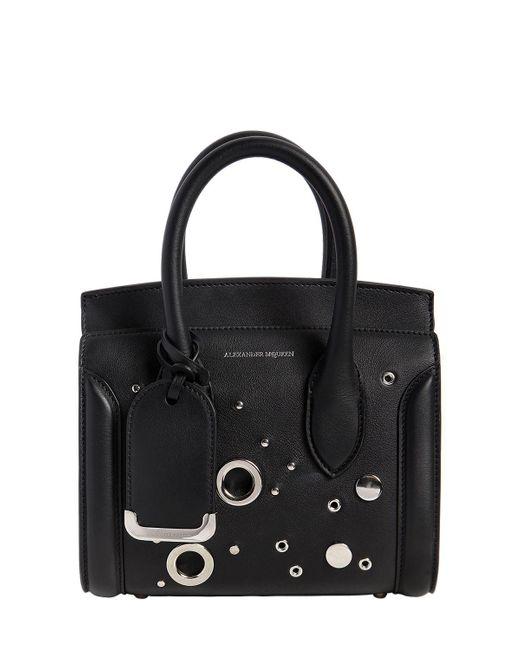 Alexander McQueen - Black Mini Leather Heroine Bag W/ Eyelets - Lyst
