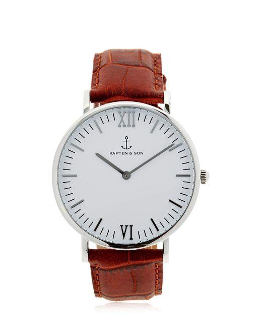 kapten son 40mm embossed leather watch in metallic lyst. Black Bedroom Furniture Sets. Home Design Ideas