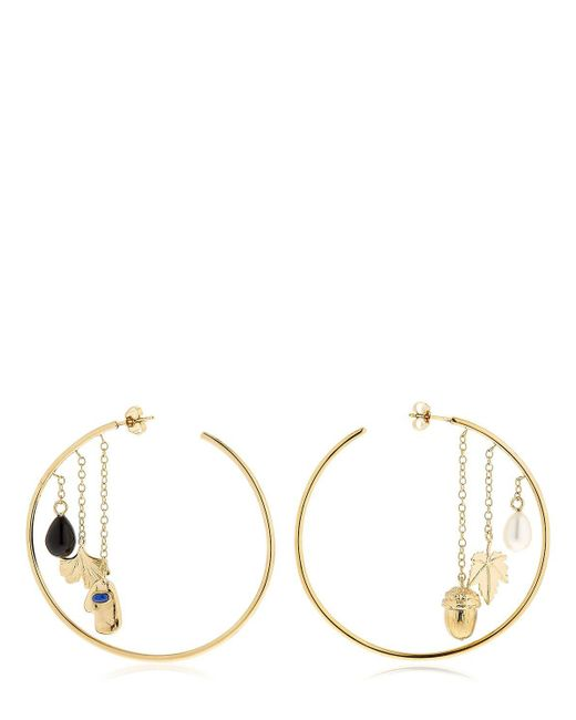 Aurelie Bidermann - Metallic Barbizon Hoop Earrings W/ Pendants - Lyst