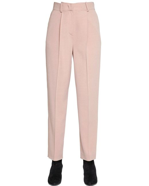 Emporio Armani | Pink Stretch Wool Blend Pants | Lyst