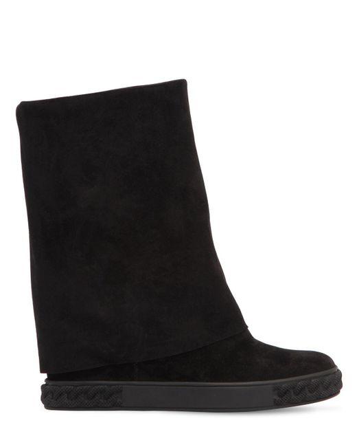 Casadei - Black 80mm Suede Wedge Sneakers - Lyst