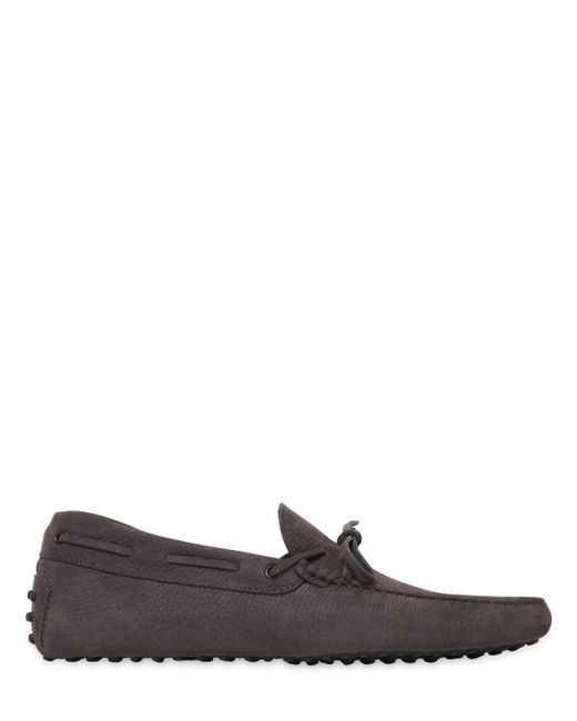 Tod's | Gray Gommino 122 Tie Nubuck Driving Shoes for Men | Lyst