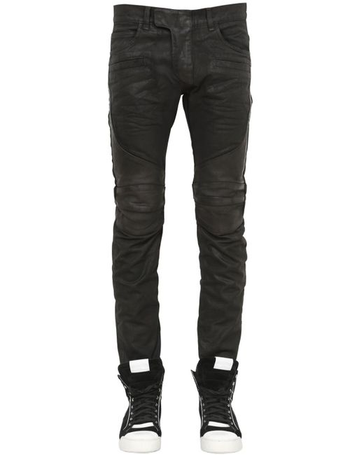 Balmain   Black 17cm Biker Coated Cotton Denim Jeans   Lyst
