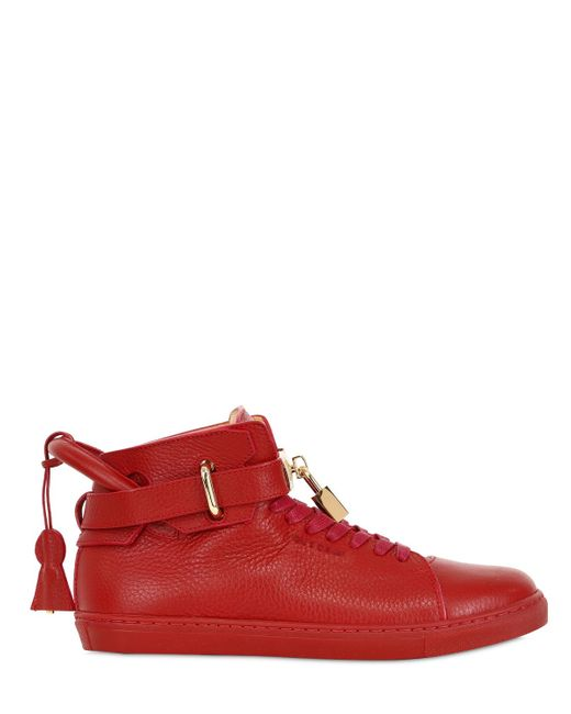 Buscemi | Red High Top Leather Sneakers | Lyst