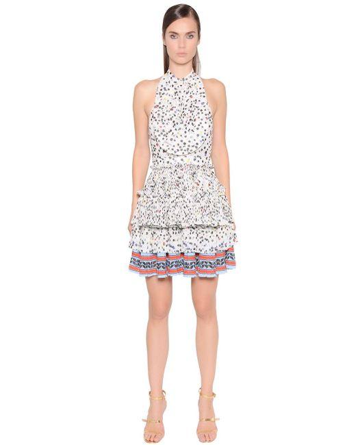 Just Cavalli | Multicolor Printed Pleated Techno Chiffon Dress | Lyst