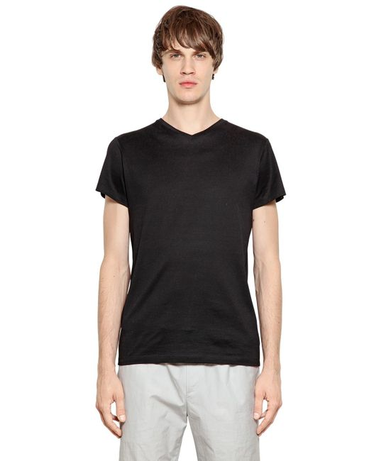 Jil Sander | Black Mercerized Cotton T-shirt for Men | Lyst